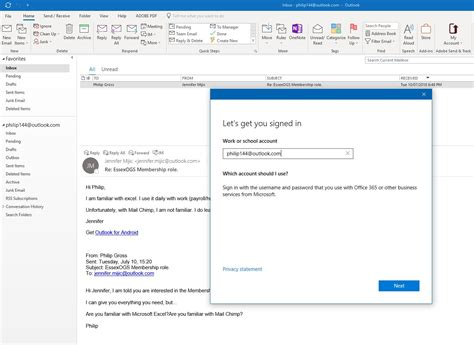 Outlook 365 email view