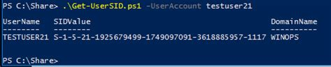 Get SID of a User account using PowerShell