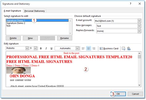 Free Email Signature Templates For Outlook 365
