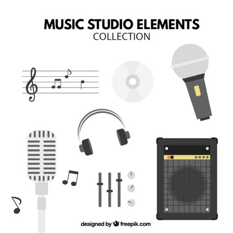 Free Vector   Main elements of a music studio